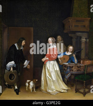 Gerard ter Borch the Younger - The Suitor's Visit - National Gallery of Art, Washington DC - Stock Photo