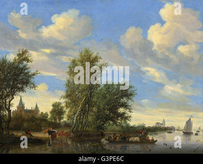 Salomon van Ruysdael - River Landscape with Ferry - National Gallery of Art, Washington DC - Stock Photo