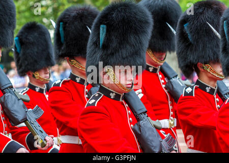 Irish Guards marching at The Queens Birthday Parade 2016 ,also known as The Trooping Of The Colour , The Mall , - Stock Photo