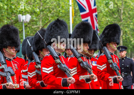 Welsh Guards marching at The Queens Birthday Parade ,also known as The Trooping Of The Colour , The Mall , London - Stock Photo