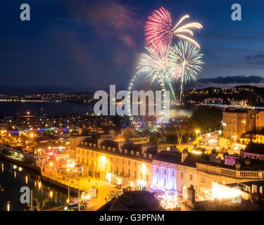 GB - DEVON (English Riviera): Fireworks over Torquay showing Paignton in background - Stock Photo