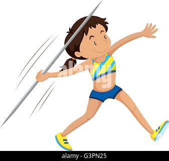 Woman athlete doing javelin illustration - Stock Photo