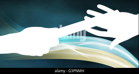 Composite image of  man passing the baton to partner on track - Stock Photo