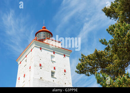 Large ancient lighthouse in Kopu, Hiiumaa island, Estonia. It is one of the oldest lighthouses in the world, having - Stock Photo