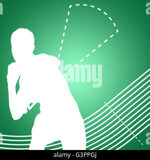 Composite image of sportswoman practising the shot put - Stock Photo