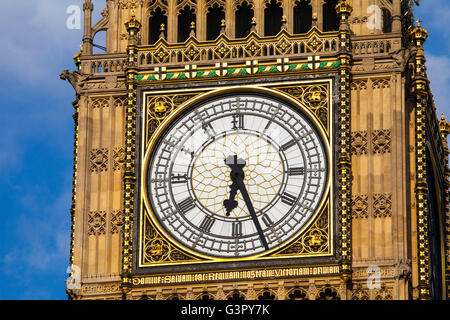 The clock face on the iconic Elizabeth Tower which is home to the historic bell named Big Ben. - Stock Photo