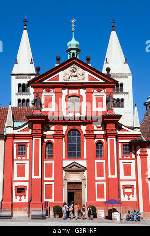 St George's Basilica at the Prague Castle in Prague - Stock Photo