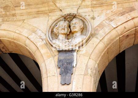 Bust of King Juan Carlos and Queen Sofia in Plaza Mayor in Salamanca Spain - Stock Photo