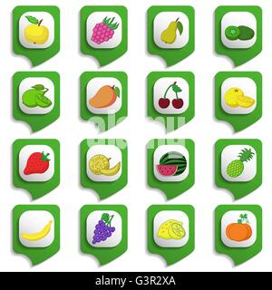 Raw fruits and vegetables icon set on green substrates - Stock Photo