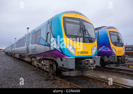 Transpennine Express 185108 185113 at Heaon Train Care Depot - Stock Photo