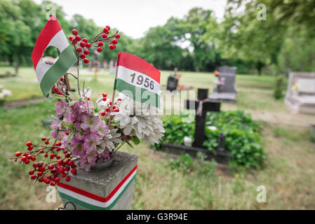 Kerepesi Cemetery Budapest, detail of the grave of a participant in the 1956 Hungarian Anti-Soviet Uprising, Budapest, - Stock Photo