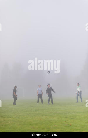 Sweden, Vastmanland, Teenage boys (14-15, 16-17) playing soccer in fog - Stock Photo