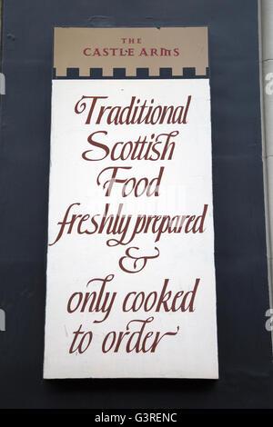 Castle Arms Pub Menu Sign; Edinburgh; Scotland - Stock Photo