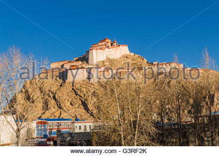 Image of the Pelchor Chode Temple taken from a Gyanstse Side Street - Stock Photo