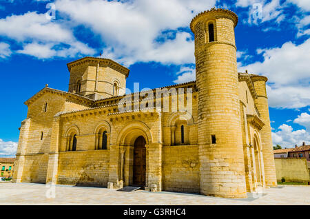 Church of San Martín de Tours, built in the 11th century in Romanesque style, It is located on the Way of St. James - Stock Photo