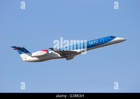 BMI Regional Embraer ERJ-145EP take-off from Schiphol airport - Stock Photo