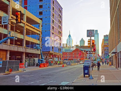 Philadelphia, USA - May 4, 2015: Sunset in the City Center of Philadelphia, Pennsylvania, USA. Tourists in the street. - Stock Photo