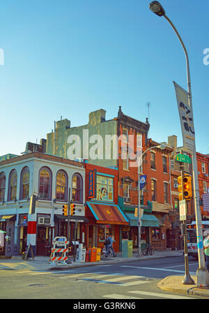 Philadelphia, USA - May 5, 2015: 2nd Street in the Old City in Philadelphia, Pennsylvania, USA. Tourists in the - Stock Photo