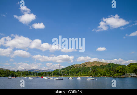 A view from Waterhead near Ambleside on Lake Windermere in the Lake District National Park, UK. - Stock Photo