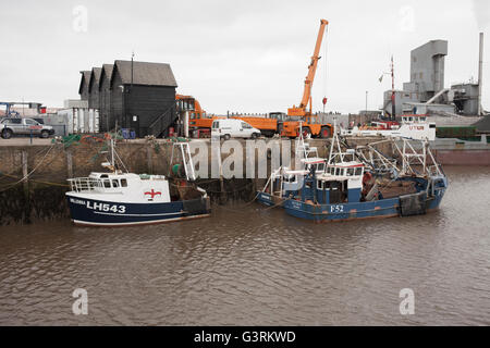 Boats in the harbour at Whistable, Kent - Stock Photo