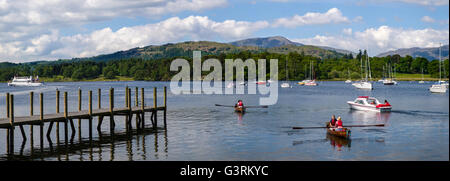 View of Lake Windermere from Waterhead near Ambleside in the Lake District, UK. - Stock Photo