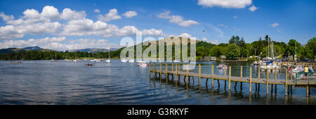 View of Lake Windermere and Loughrigg Fell from Waterhead Pier near Ambleside in the Lake District, UK. - Stock Photo