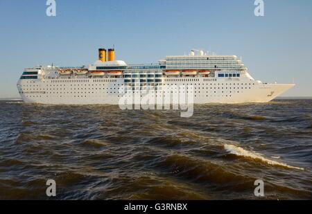 Russia. Costa Line ocean cruise ship Costa Romantica outbound from Saint Petersburg in the Gulf of Finland. Summer - Stock Photo