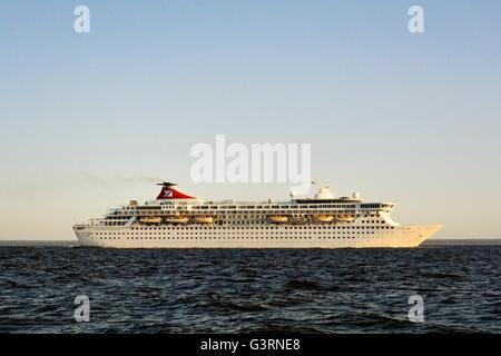 Russia. Fred Olsen ocean cruise ship Balmoral outbound from Saint Petersburg in the Gulf of Finland. Summer