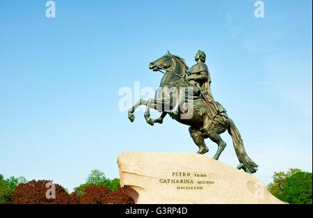 Saint Petersburg, Russia. The Bronze Horseman. Equestrian statue of Peter the Great in the Senate Square - Stock Photo
