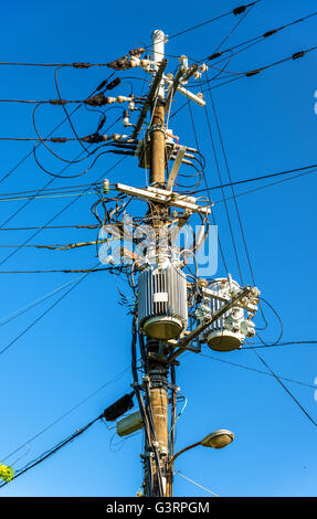 Electrical power line cables and transformers in Japan - Stock Photo