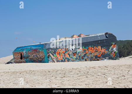 Coastal fortifications covered in graffiti Dune of Pyla Southern France