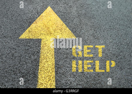 Yellow forward road sign with Get Help word on the asphalt road. Human rights concept. - Stock Photo
