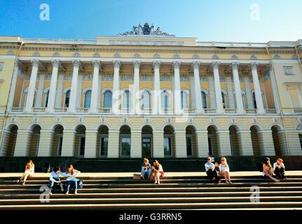 Saint Petersburg Russia. The Mikhailovsky Palace houses the Russian Museum. Seen from the Mikhailovsky Gardens - Stock Photo