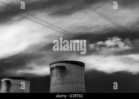 Power Station cooling towers in black and white - Stock Photo