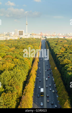View from the Victory Column to city centre, park Tiergarten in colors of autumn, Germany, Berlin, , Berlin - Stock Photo