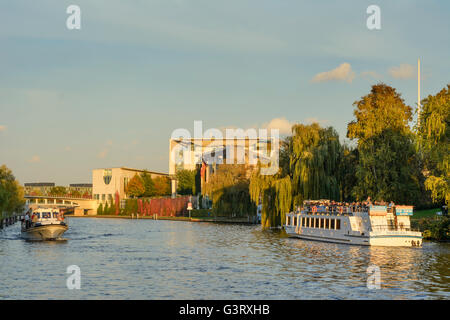 Bundeskanzleramt (Federal Chancellery), river Spree - Stock Photo