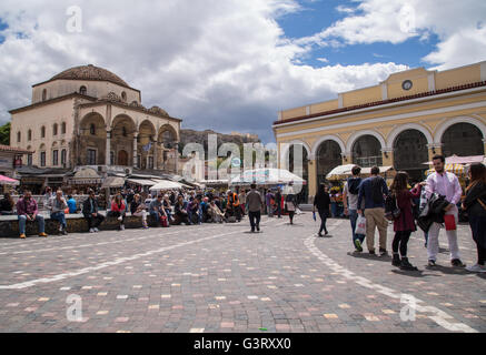 A shot of Monastiraki Square and metro station (a famous landmark) on a spring day in Athens, Greece. - Stock Photo