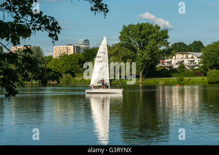 Sailboat on the Aasee in Münster, NRW, Germany. - Stock Photo