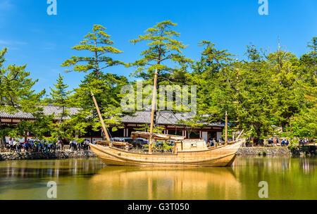 Boat at Todai-ji temple complex in Nara - Stock Photo