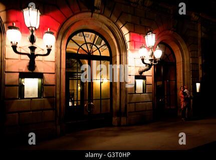 Copenhagen, Denmark, entrance of the Royal Danish Theatre in Kongens Nytorv at night. - Stock Photo