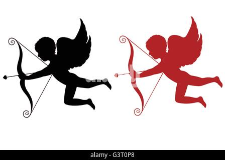Red and black cupid isolated - Stock Photo