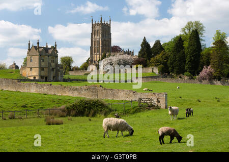 St James' Church and Old Campden House East Banqueting House with grazing sheep, Chipping Campden, Cotswolds, Gloucestershire, - Stock Photo