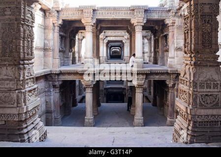Beautiful carvings on the walls of Adalaj step well in Ahmedabad, India - Stock Photo