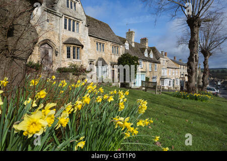 Cotswold stone cottages and Daffodils along The Hill, Burford, Cotswolds, Oxfordshire, England, United Kingdom, Europe