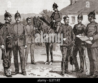 Officers and men of The Royal Irish Constabulary in the 19th century, the armed police force of the United Kingdom - Stock Photo