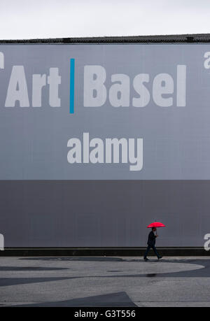 Basel, Switzerland. 14 June, 2016. Pouring rain outside Basel's exhibition centre at the opening of 'Art Basel 2016', - Stock Photo