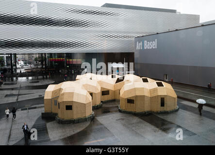 Basel, Switzerland. 14 June, 2016. Outside view of Basel's exhibition centre with the installation 'Zome Alloy' - Stock Photo