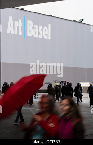 Basel, Switzerland. 14 June, 2016. Rain outside Basel's exhibition centre at the opening of 'Art Basel 2016', one - Stock Photo
