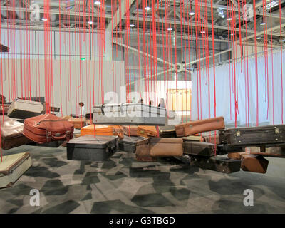 Basel, Switzerland. 14th June, 2016. A giant installation of flying suitcases by Chiharu Shiota is one of the eyecatchers - Stock Photo