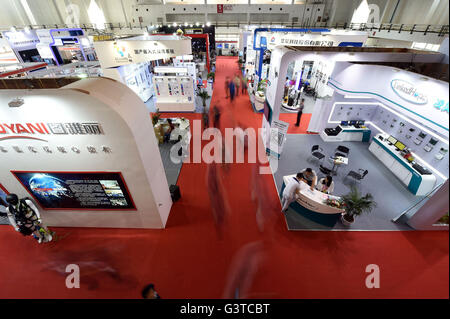 Beijing, China. 15th June, 2016. People visit China International Military and Police Anti-terrorism Emergency Equipment - Stock Photo